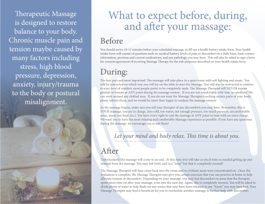 Massage Therapy Brochure, Page 2