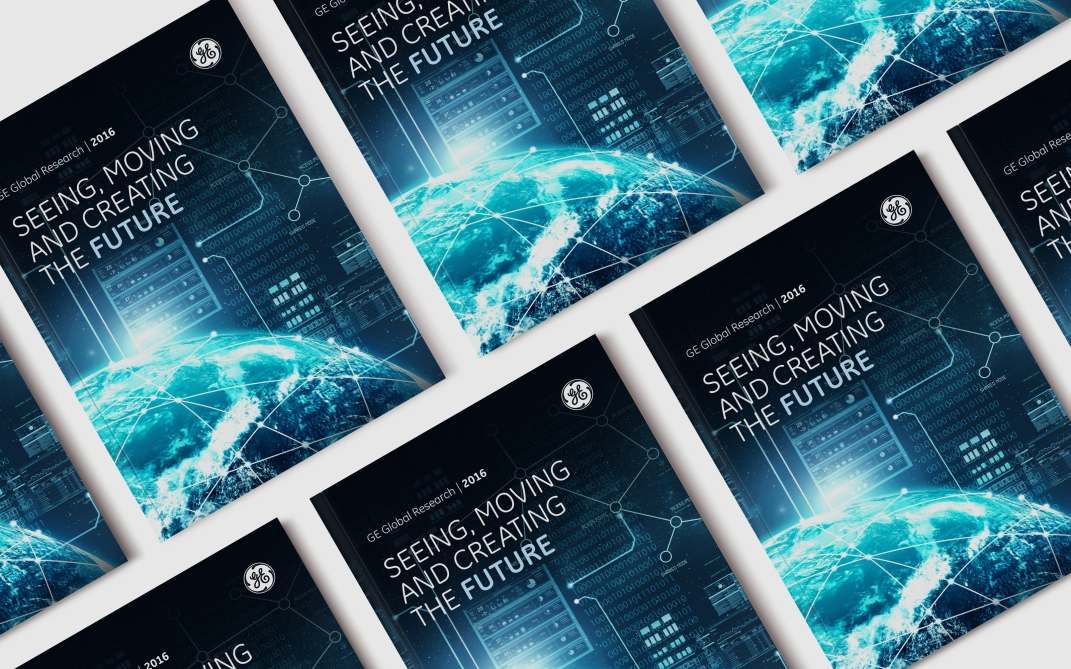 The Global Research catalogs I designed and laid out to be present to executives throughout GE.
